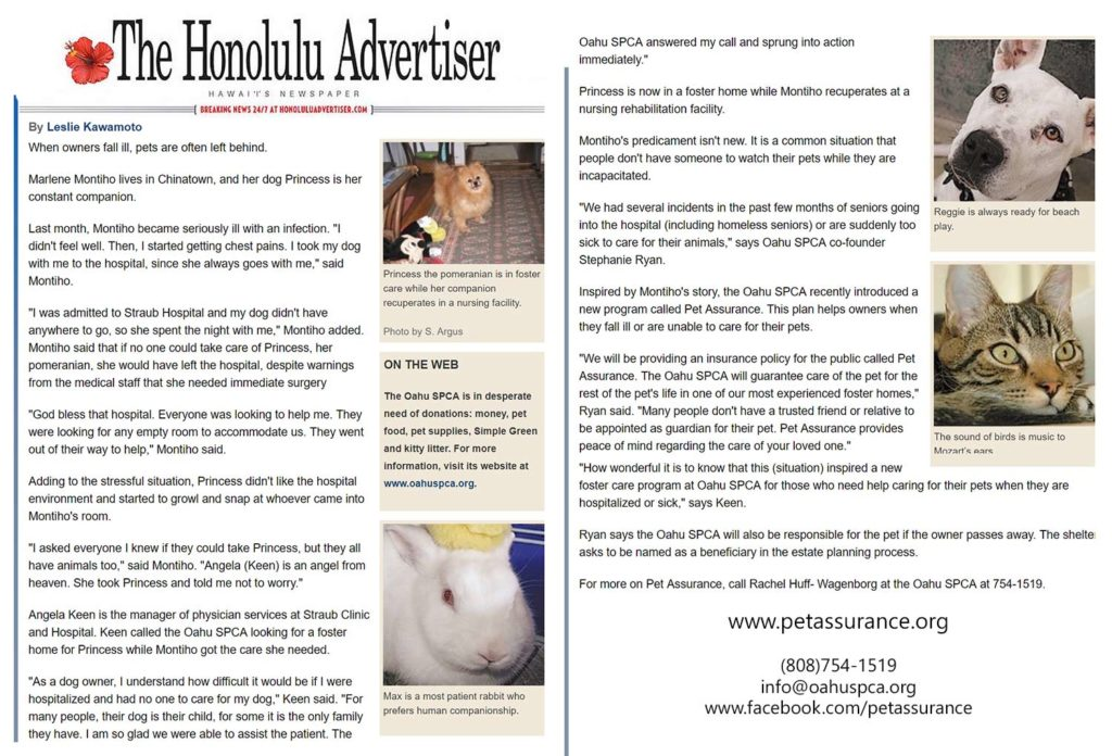 Oahu SPCA pet assurance honolulu advertisers